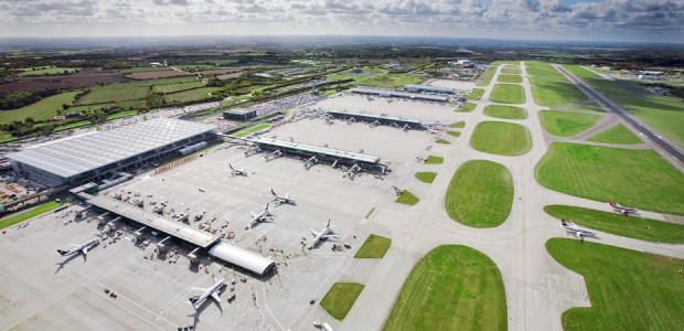 Stansted Airport, aerial view of main terminal building, aircraft on stand at satellite 3 (foreground), October 2008. Image ref CST02553d, AC